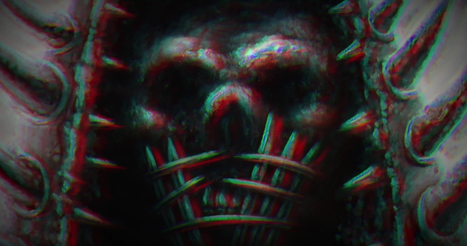 Fearfully skull mask with spiked helmet. Horror fantasy digital movie. Scary animated 4K teaser. Gloomy demon face with shake effect. Creepy 2D cartoon, footage, vj loop, fx. Culture and religion.  Royalty-Free Stock Footage #1063656055
