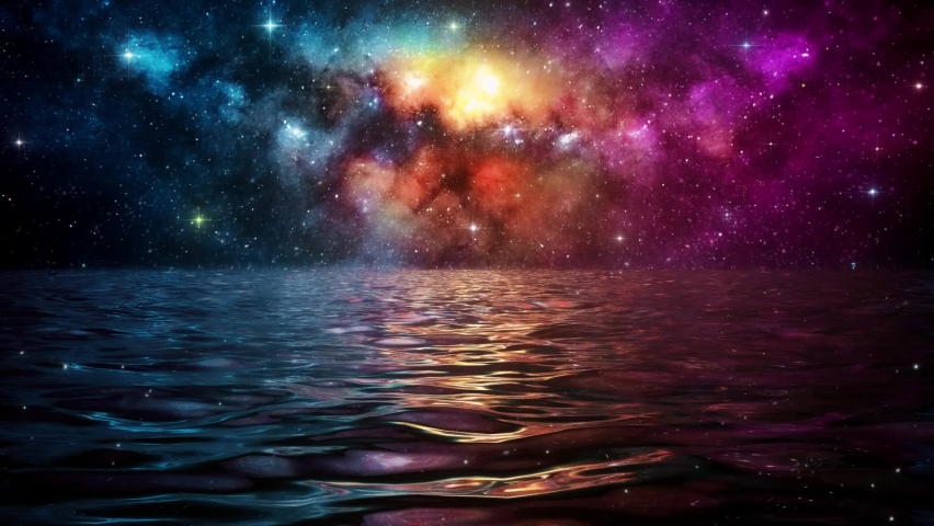 Calm Sea under a Colorful Starry Night Sky VJ Loop Background | Shutterstock HD Video #1063667263