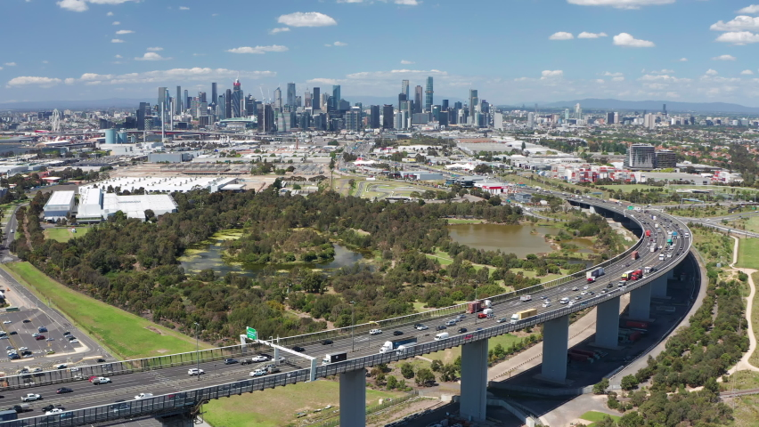 Aerial video of highway connected to Melbourne CBD in Australia