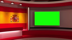 TV studio. Spain. Spanish flag studio. Spanish flag background. News studio. The perfect backdrop for any green screen or chroma key video or photo production. 3d render. 3d