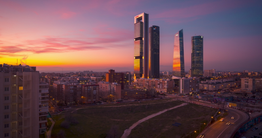 Hyperlapse drone aerial view of Madrid Four tower now Five Towers business area. Timelapse during sunset Royalty-Free Stock Footage #1063679236