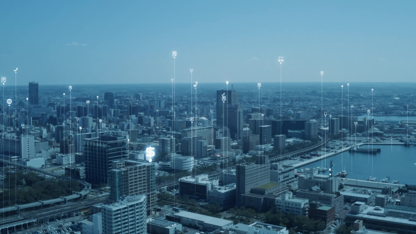 Smart city and communication network concept. Digital transformation. IoT (Internet of Things). ICT (Information Communication Technology). Royalty-Free Stock Footage #1063702903
