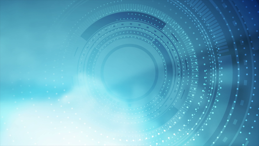 Technology futuristic abstract bright blue motion background with HUD gear. Seamless looping. Video animation Ultra HD 4K 3840x2160 | Shutterstock HD Video #1063706449