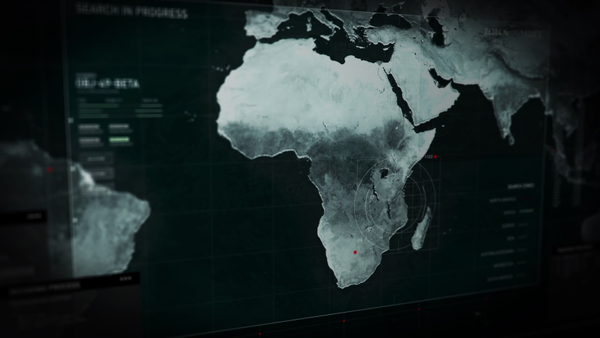Computer Screen. Loading the newest spying software. Protocol Codename. Scanning the map of the whole world. A dangerous criminal group was found In Hong Kong. User Interface. | Shutterstock HD Video #1063706593