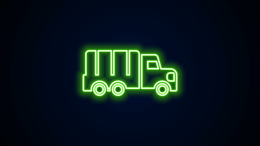 Glowing neon line Military truck icon isolated on black background. 4K Video motion graphic animation.