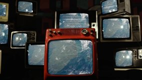 Flying over Ireland to Wales seen from Space on Retro TVs. Elements of this Video furnished by NASA.