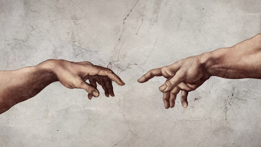 Hands reaching out in 4K animation of Michelangelo's fresco The Creation of Adam repro artwork.  Royalty-Free Stock Footage #1063722436