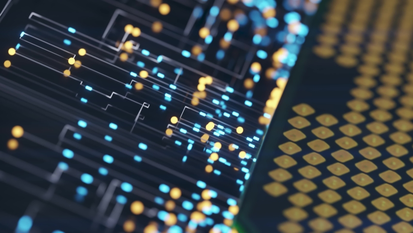 A computer processor with millions of connections and signals. Technology cpu background. Pulses and signals from the chip propagate through the motherboard. 3d animation