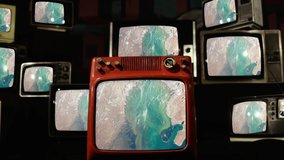 From Kazakhstan to Uzbekistan seen from Space on Retro TVs. Elements of this Video furnished by NASA.