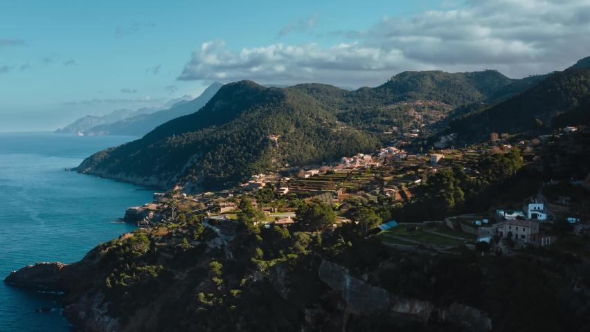 Aerial view of Banyalbufar Touristic Town in Mallorca (Majorca), Es Port des Canonge, Serra de Tramuntana   Shutterstock HD Video #1063734730