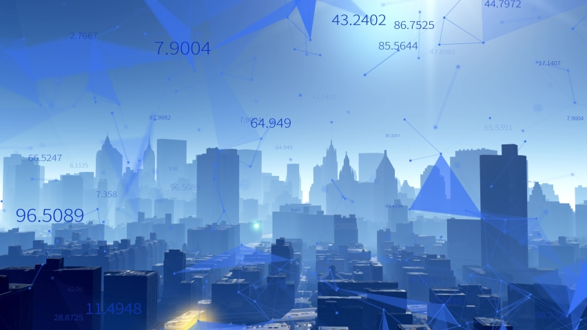 4k Big Data Digital City,flowing counters of numbers,Business digital Data,Stock Market,abstract tech geometrical lines nodes with moving triangles and connection dots.  Royalty-Free Stock Footage #1063737439
