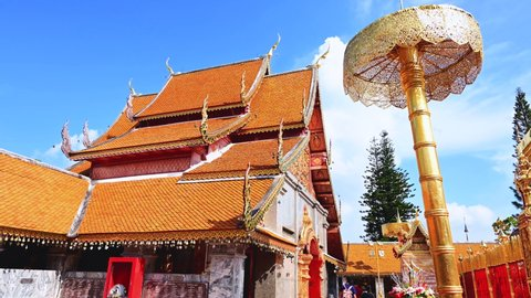 CHIANG MAI, THAILAND - September 3, 2020 : 4K Time Lapse Video of Wat Phra That Doi Suthep, Chiang Mai Province.