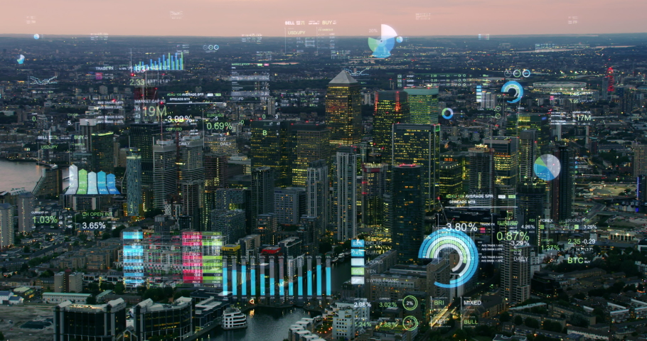 Augmented reality elements over London Financial District with economic charts and data. Futuristic aerial skyline of London with stock exchange figures. Representing concepts as Big data, AI, IOT. | Shutterstock HD Video #1063770331