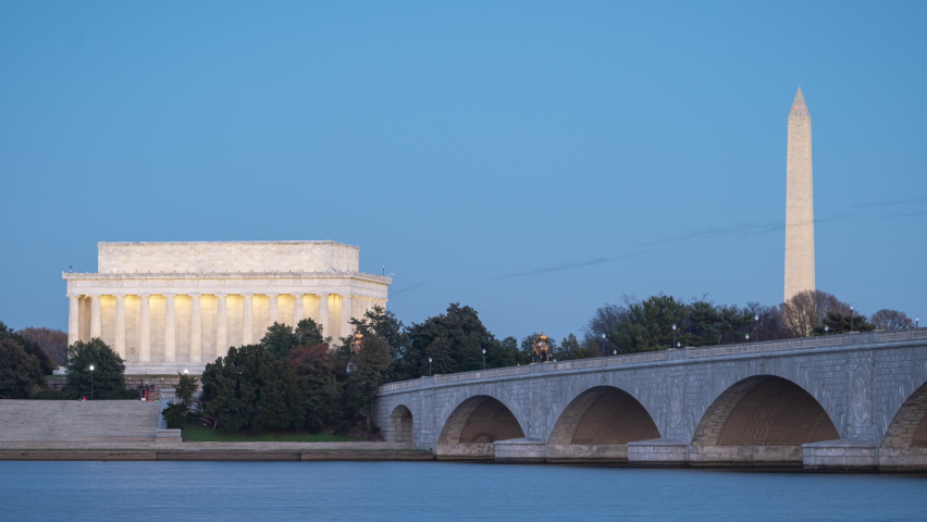 A nighttime time-lapse of the Arlington Memorial Bridge, Lincoln Memorial, and Washington Monument.