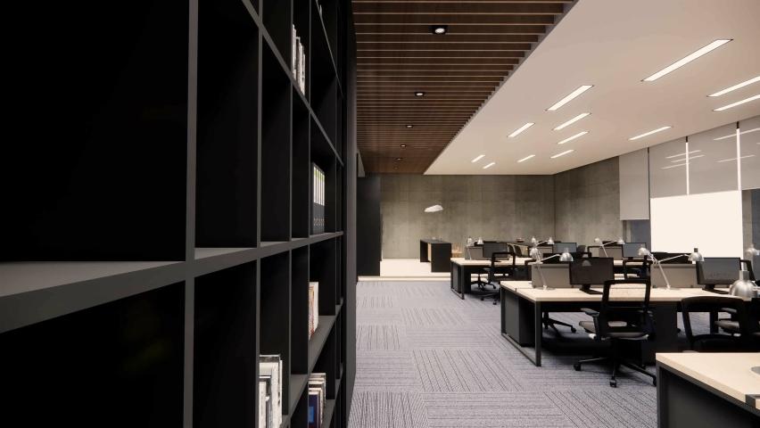 Interior Empty Modern Loft Office open space modern office footage.Modern open concept Lobby and reception area meeting room design.3d Rendering  interior walk through.