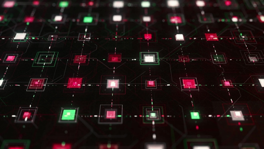 Abstract electrical signals in electronic circuit. Animation. Circuit board and CPU with connections and impulses, technology and digital concept. Royalty-Free Stock Footage #1063802398