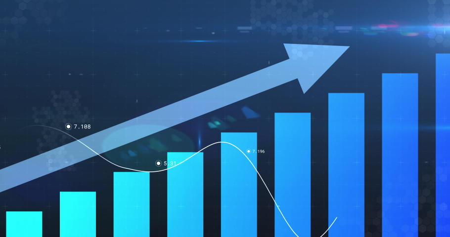 Animation of financial data processing with arrow pointing up and statistics. global business finance concept digitally generated image.   Shutterstock HD Video #1063802989