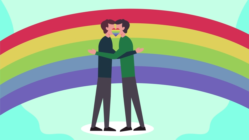 Homosexual couple animation kissing and hugging each other with rainbow background. Shot in 4k resolution #1063806322