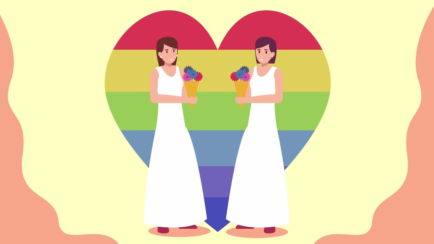 Lesbian couple animation holding bouquet of flowers while celebrating their wedding ceremony and standing with a rainbow heart symbol. Shot in 4k resolution. #1063806325