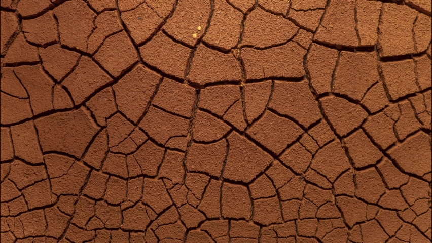 Cracked soil in a desert drying out, timelapse. global climate change and drought. time lapse evaporation from soil. dry, cracked earth. increased temperatures, global warming, environment and ecology