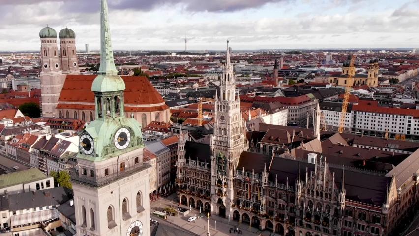 Munich in a bird's-eye view. The Marienplatz square. | Shutterstock HD Video #1063854487