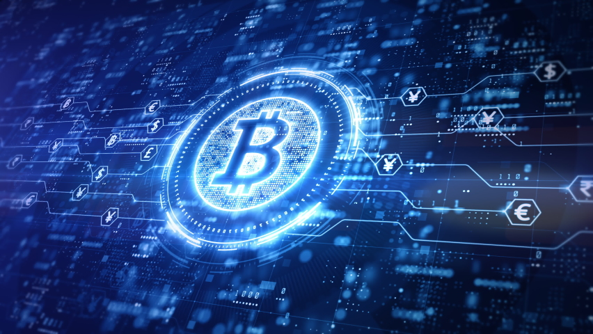 Bitcoin blockchain crypto currency digital encryption, Digital money exchange, Technology global network connections background concept. Royalty-Free Stock Footage #1063861729