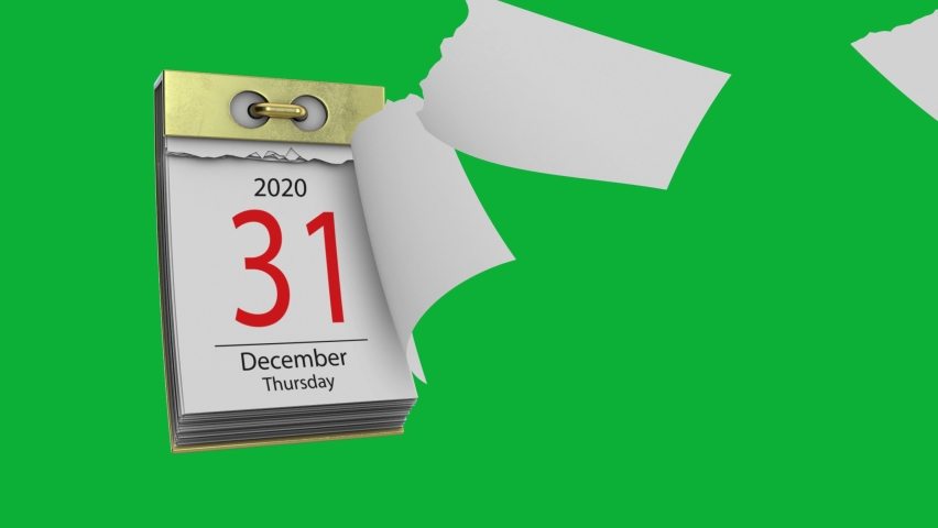 New Years Eve for the year 2020 on calendar 4K animation on Green screen background - 2020 New Year's Eve Date - December 31st tear-off Calendar - New Year Days Count down animation on Chroma key Royalty-Free Stock Footage #1063873429