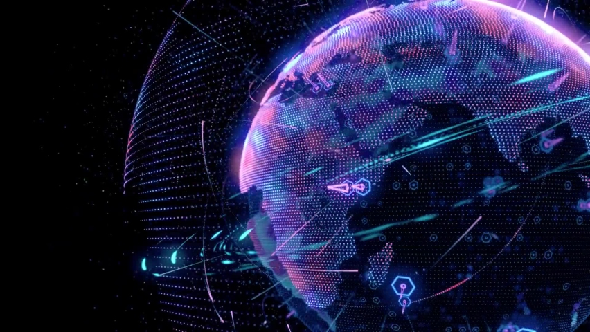 BIG DATA 3D EARTH teamwork Blue Marble Digital Clouds Earth rotating animation social future technology abstract business scientific growth network surrounding planet earth rotating. Royalty-Free Stock Footage #1063874479