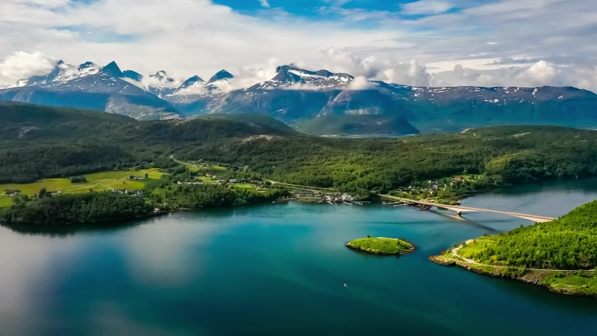 Beautiful Nature Norway natural landscape. Whirlpools of the maelstrom of Saltstraumen, Nordland, Norway Royalty-Free Stock Footage #1063917211