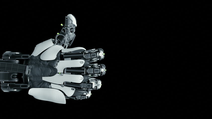 Close-up Part of Robotic Arm which Learn Visualization Thumb Up Gesture. Training Robot Hand Moving in Laboratory Industry Four. Modern Concept Ai Programming Control Technology Hardware Manipulator Royalty-Free Stock Footage #1063919803