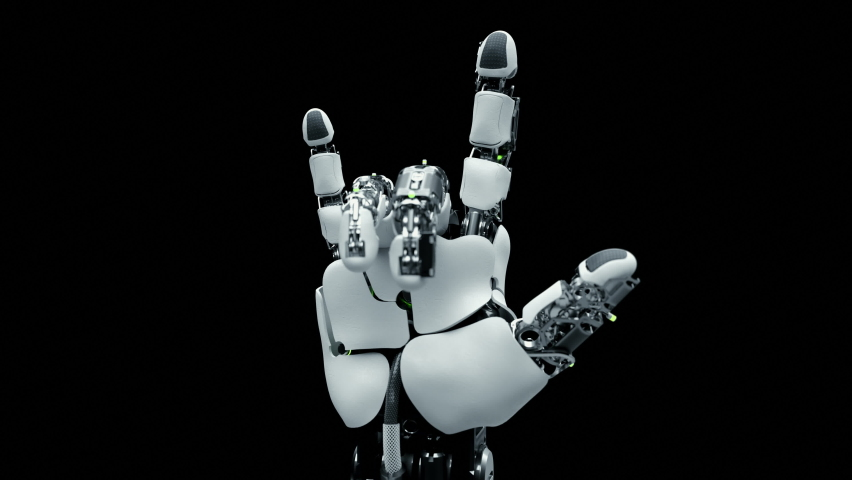 Close-up Part of Robotic Arm which Learn Visualization Rock Gesture. Training Robot Hand Moving in Laboratory Industry Four. Contemporary Concept Ai Programming Control Technology Hardware Manipulator Royalty-Free Stock Footage #1063919827