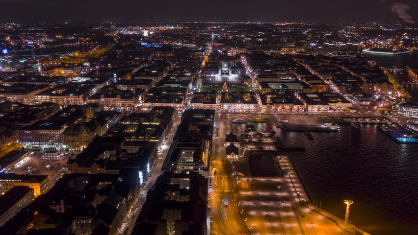 Aerial timelapse of Helsinki downtown area at night.