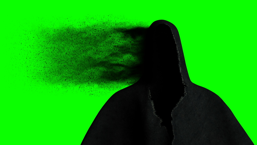 Scary, fear ghost with dark particles. Realistic green screen 4k animation. Royalty-Free Stock Footage #1063948315