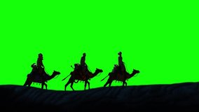 Christian Christmas scene with the three wise men and shining star,  seamless 4K loop video animation on green screen