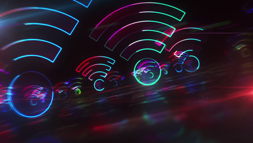 Wifi hotspot symbol, wi-fi internet zone, free connection technology and 5G network light icon loop concept. Flight between sign in hyperspace. Abstract 3d rendering animation. Royalty-Free Stock Footage #1063952599