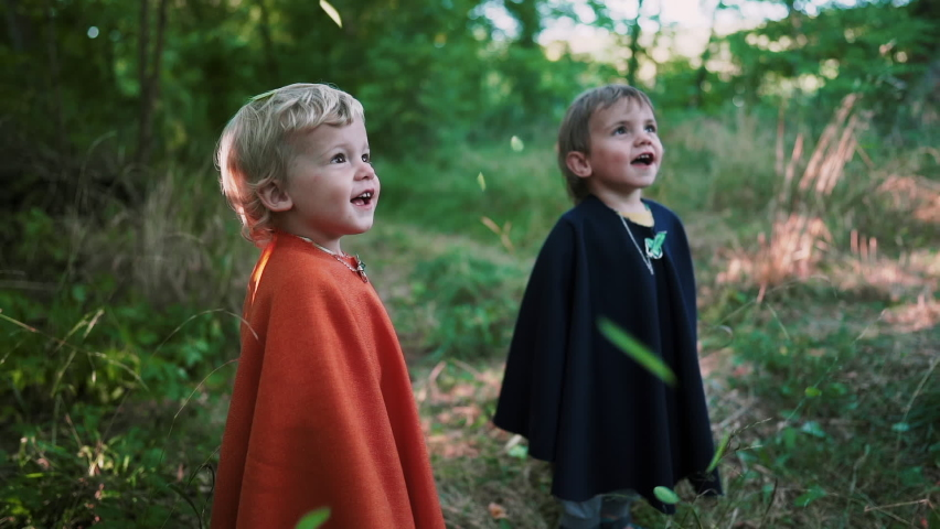 Two little toddler boys cosplay gnomes or hobbits in long capes smiling sincerely magically falling foliage in green forest. Halloween, kids concept. Amazing fairy tale character. Slow motion.  | Shutterstock HD Video #1063953262