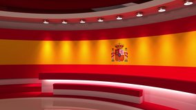 TV studio. Loop animation. Spanish flag background. News studio. The perfect backdrop for any green screen or chroma key video production. 3d render. 3d