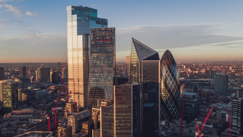Establishing Aerial View Shot of London UK, refined City of London, United Kingdom