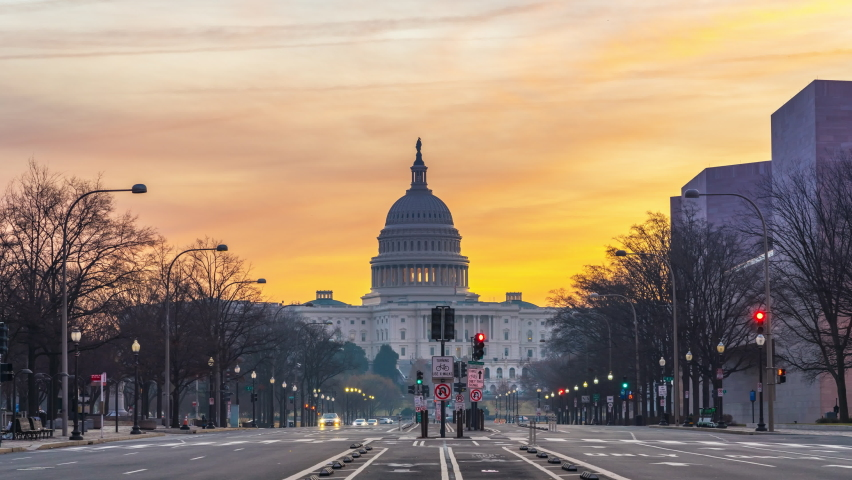 Timelapse of Pennsylvania Avenue and US Capitol at sunrise, Washington DC, USA | Shutterstock HD Video #1064007664