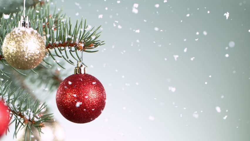 Christmas Spruce Branches with Snowflakes Falling. Super Slow Motion Filmed on High Speed Cinema Camera at 1000 fps. | Shutterstock HD Video #1064013088