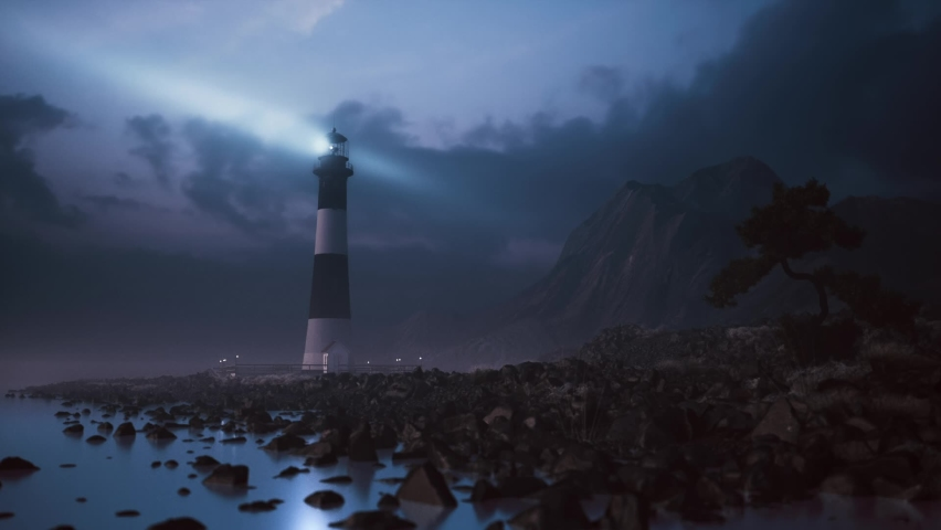 Lighthouse light on the stone shore at night. The powerful lighthouse illuminated at night Royalty-Free Stock Footage #1064054896