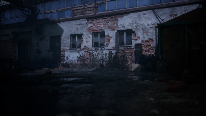 ruins of a very heavily polluted industrial factory Royalty-Free Stock Footage #1064062870