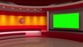 TV studio. Loop animation. Spanish flag background. News studio. Background for any green screen or chroma key video production. 3d render. 3d