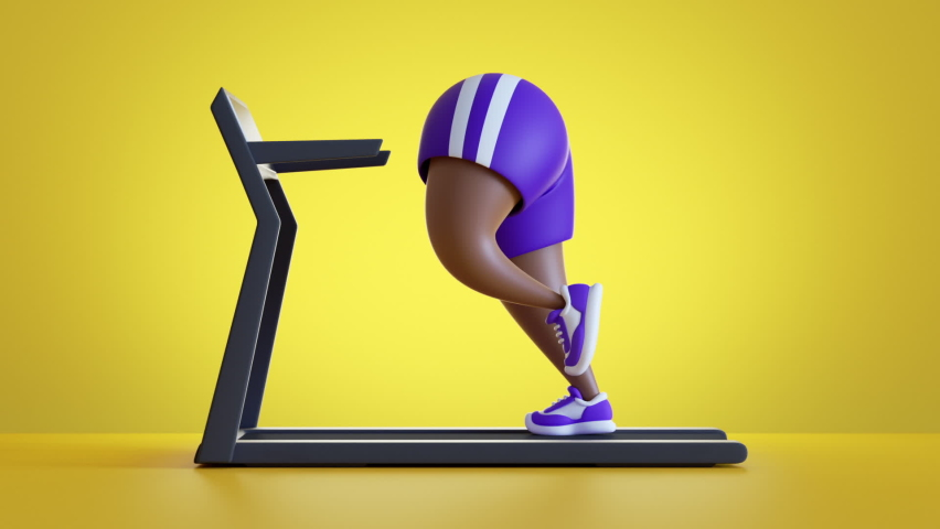 funny 3d cartoon character corpulent african legs run on treadmill, wear violet shorts, isolated on yellow background. Weight loss concept. Cardio workout looping animation. Continuous sequence