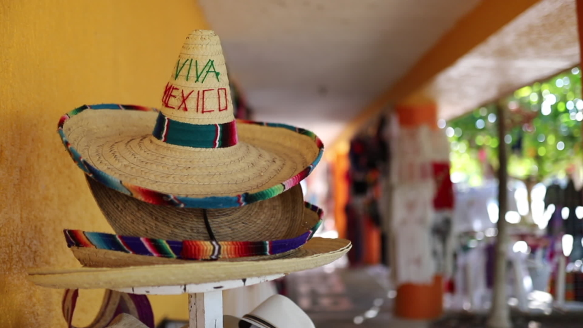 Video Circling around of a colorful sombrero with words Viva Mexico in a shop in Mexico | Shutterstock HD Video #1064077246