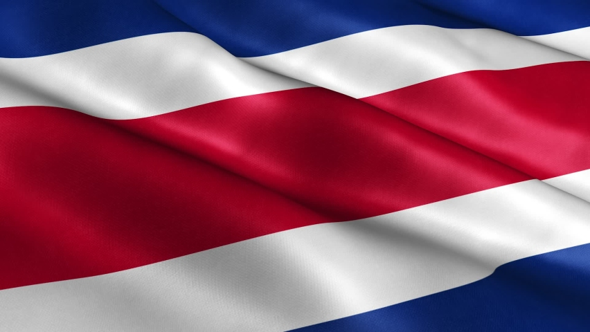 3D Realistic Costa Rica Flag Waving in the Wind Continuously. Seamless Loop and High Quality Country Banner Animation. Textile Fabric Surface. | Shutterstock HD Video #1064084098