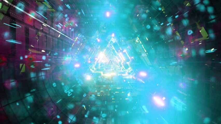 Blue neon particles science fiction tunnel 3d illustration vj loop   Shutterstock HD Video #1064084182