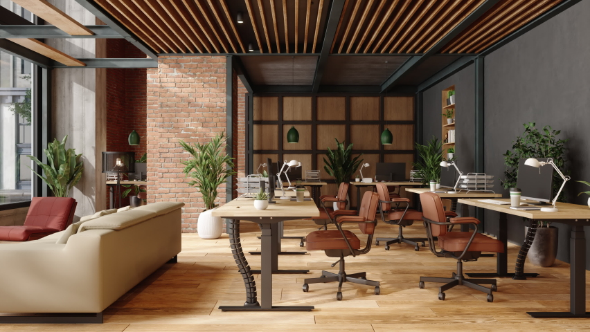 3d Rendering of Eco-Friendly Modern Office Interior With Brick Wall, Waiting Area And Indoor Plants. Royalty-Free Stock Footage #1064095372
