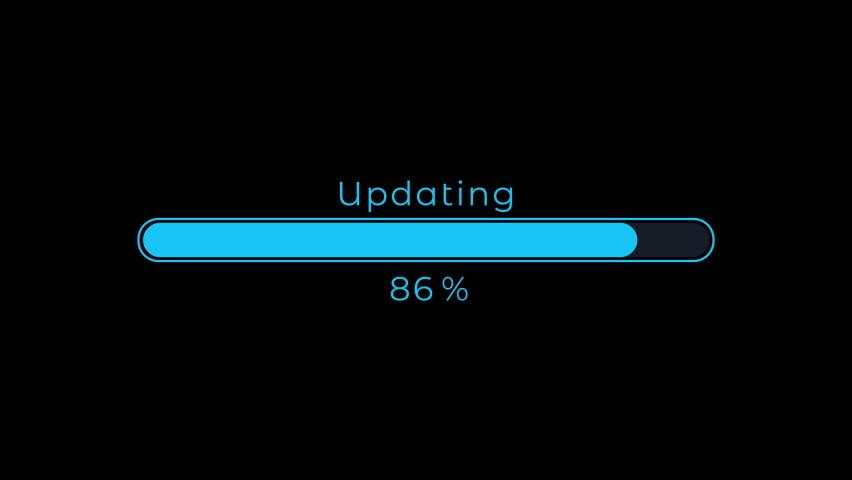 Futuristic Updating Progress Bar 0-100 Animation on Black Background 4K Royalty-Free Stock Footage #1064100967