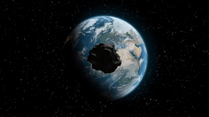Meteorite hitting the earth. Asteroid on a collision course towards Earth. Explosion, cataclysm end of the world. Global extinction. Elements of this image are furnished by NASA. 3d render